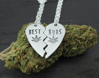 Broken heart best buds hand stamped necklace set in aluminum, pot leaf jewelry,  420 jewelry, bff handmade by the toke shop