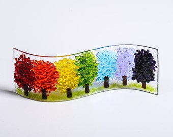 Handmade Fused Glass Art - Magical Rainbow Trees