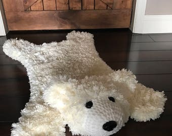 Furry Polar Bear Rug