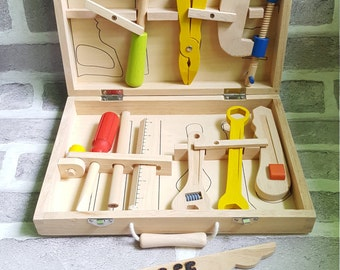Wooden Toy Tool Box, Personalised Wooden Carpenters Set, Wooden Toys, Handmade Wooden Toys, Engraved Toy Tool Box
