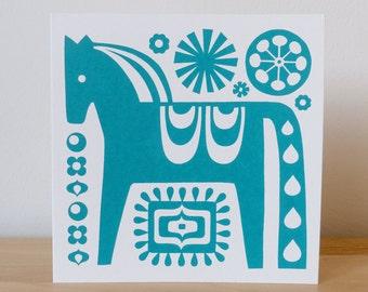 Greetings Card - Dala Horse Card, Scandinavian Card, Scandi Horse Card, Screen Print by Fran Wood Design