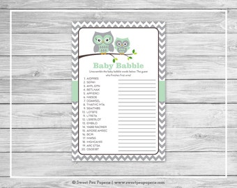 Owl Baby Shower Baby Babble Game - Printable Baby Shower Baby Babble Game - Green Owl Baby Shower - Owl Shower - Baby Word Scramble - SP137