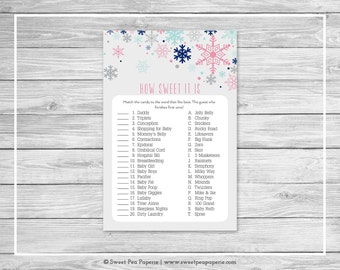 Winter Baby Shower How Sweet It Is Game - Printable Baby Shower How Sweet It Is Game - Baby It's Cold Outside Baby Shower - Game - SP141