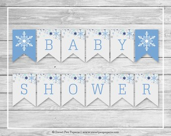 Winter Baby Shower Banner - Printable Baby Shower Banner - Baby It's Cold Outside Baby Shower - Baby Shower Banner - EDITABLE - SP144