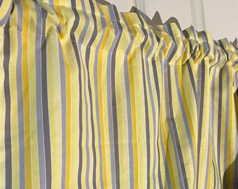 Yellow and gray striped Curtain Valance