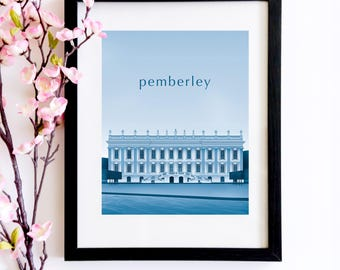 Pemberley Duotone Poster   A Pride and Prejudice Inspired Literary Print For Jane Austen Fans