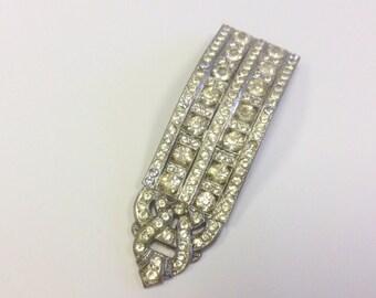 Vintage, Art Deco, paste dress clip in silver tone metal, AF.