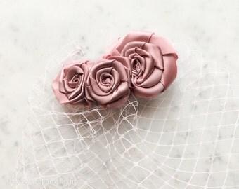 Bridal Veiling Dusty Pink, Short Veil Pastel pink, Hair Accessories, Vintage Headpiece, Pink Veil, Wedding, Rose, Wedding Veil, Bridal Veil