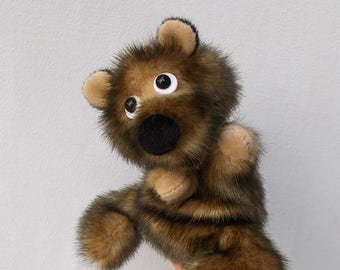 Bear cub. Small brown bear. For little hands.Bibabo. Toy glove. Marionette.