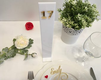 White wedding table numbers, Unique table numbers, Plexiglass table numbers, Gold mirror wedding table numbers, Acrylic table numbers