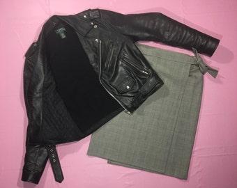 MaxMara Plaid Virgin Wool Wrap Skirt 90s