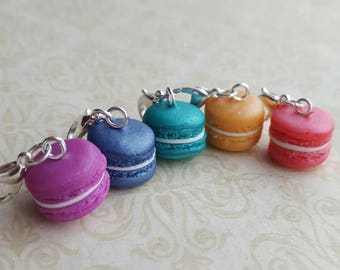 Knitting stitchmarkers, novelty fun stitch markers, bright macaron themed knitting  accessory, for knitting or crafts