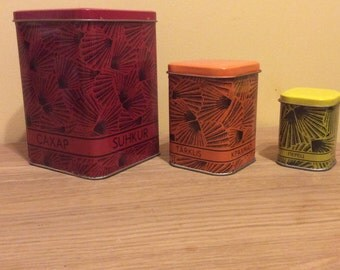 New, Set of 3 Vintage Soviet Tin Boxes for Kitchen, Soviet Tin Container, Vintage metal tin boxes for kitchen