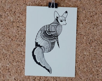 Fennec postcard printed hand-drawn black and beige