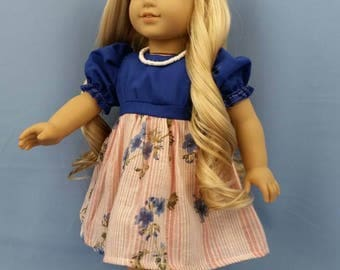 SALE!! American Girl Doll Dress, Blue Calico Outfit Summer Dress