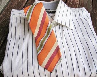 Orange beige and white diagonal striped tie, Vintage neckties, Ties, Neckties, Mens Necktie, Vintage Tie, Vintage necktie, Free Shipping