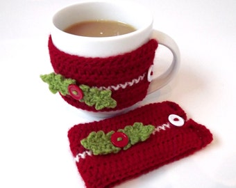 Christmas Crochet Mug cozy. Christmas Tea/Coffee Mug warmer. Red Christmas Mug cosy