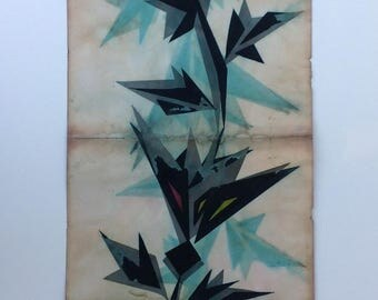 Vintage Japanese hand-painted kimono design on paper.Geometric tree design,circa 1960s-only one available.(962mmX349mm)