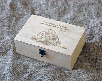 Custom quote wooden box, Memory box, Engraved quote box, Custom engraved jewelry box, Keepsake box, Winnie the pooh quote