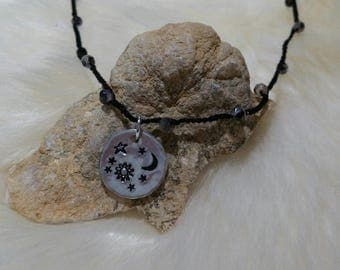 Sun, Moon and Stars Custom Hand Stamped Aluminum Necklace Pendant with Crocheted Beaded chain READY To Ship