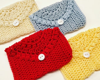 Crocheted Rosary Pouches, Set of Four (Red, Blue, Cream, and Yellow)