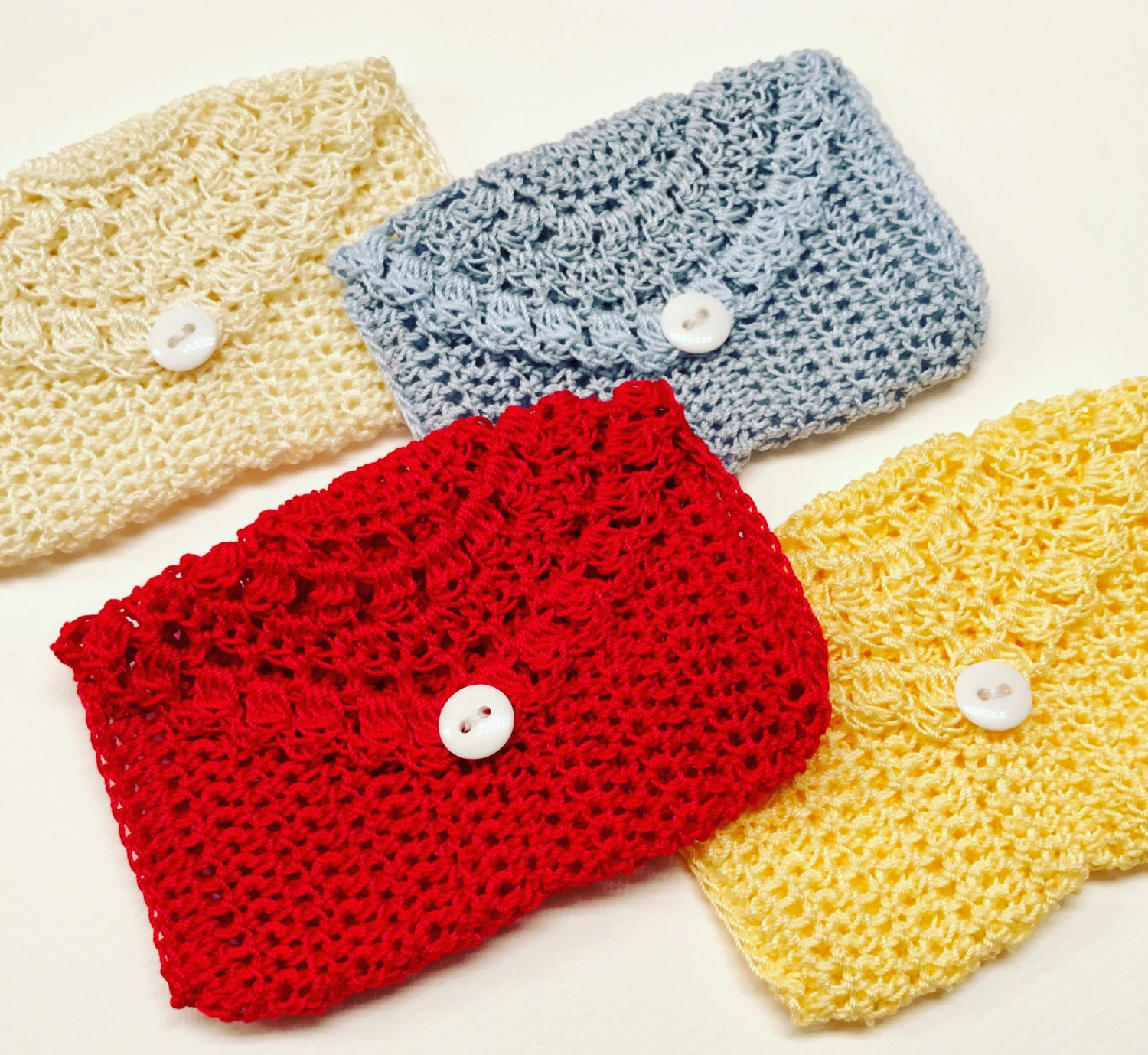 Crocheted Rosary Pouches Set Of Four Red Blue Cream And