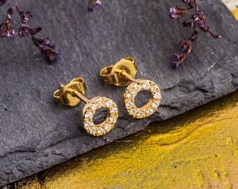 White Diamond Stud Earrings, 14K Yellow Gold Stud Earrings, Natural Diamonds Earrings, Gold and Diamonds Studs, Zehava Jewelry