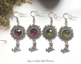 Antique silver witches with red or green glitter cabochons hooks earrings