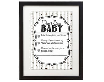Woodland Baby Shower Game - Dont Say Baby - Whitewash Trees - Fox Forest DIY Instant Printable Digital Download Baby Shower activities boy