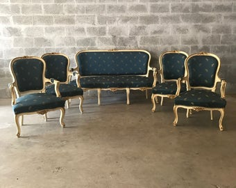 French Settee French Antique Furniture French Chair *5 Piece Set Rococo Furniture Baroque French Settee Antique Blue Chair Cream Beige Frame
