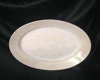 "Antique James Edwards & Son Dalehall Stone China White Ironstone  XL Oval Platter/Edwards and Son White Ironstone 21"" Platter/DALEHALL"