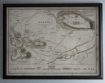 Athens Map : Vintage Map of Athens, Greece- Circa 19th C. - Weathered Map