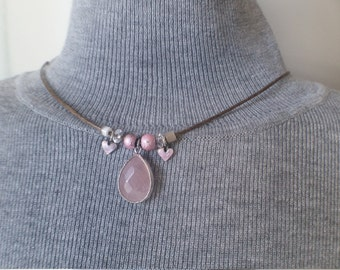 Vintage necklace, rose quartz, cloisonne, mother of pearl, wax cord, choker style, OOAK, assemblage, upcycled, repurposed, healing, crystal