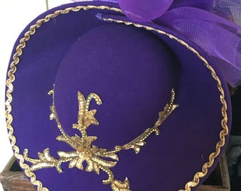 Purple and gold accents hat, unique que hat, made in the USA