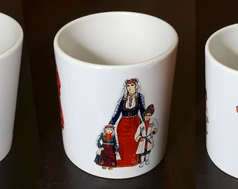Ceramic Coffee Tea Mug With Armenian Traditional Wardrobes and Lifestyle Design, Perfect For Gift