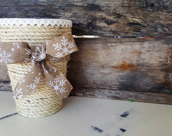 Rustic Anick with Mr. JAR - centerpiece for flowers or plants (marriage - wool-utensils - toothbrush