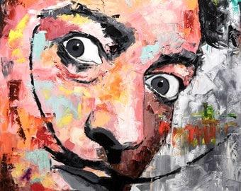 "Salvador Dali, Original Oil Painting, 40"", 30"", Portrait, Large, Wall, Art, Canvas, Worldwide Shipping"