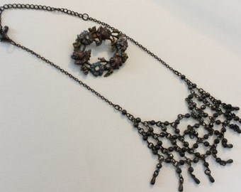Vintage choker necklace and Brooch