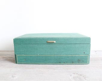 Mele jewelry box tiered with drawer . Vintage Jewelry Box . vintage jewelry organizer . vintage green jewelry box . shabby chic decor