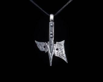 Halberd Pendant, sterling silver, handmade ... hellebarde, medieval weapon, axe pendant, halberd necklace, ax pendant