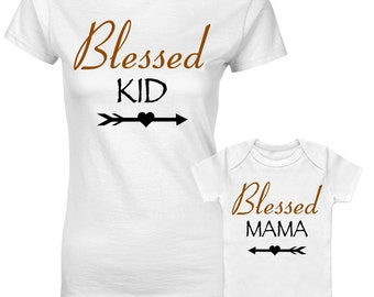 Blessed Kid Blessed Mama Religious Mum Son Daughter Family Matching T shirts