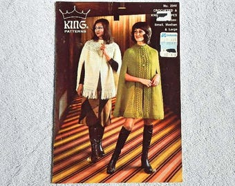 Vintage King Patterns Capes Knit and Crocheted Pattern No. 2040