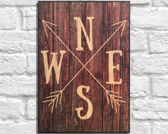 Wood arrow news compass wooden sign rustic wall art quote