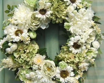 XL WHITE SUNFLOWER Majesty Wreath,Summer Wreath,Spring Wreath,Green and White Wreath,Silk Flower Wreath,Green Hydrangea Wreath,Luxury Wreath