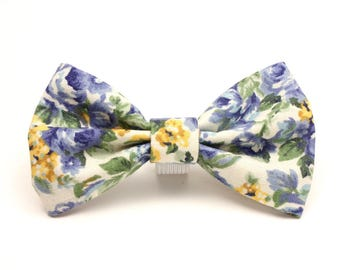 Dog Bow Tie - Blue & Gold Floral Dog Bow Tie - Vintage Pet Bow Tie - Detachable Dog Bow Tie - Cat Bow Tie - Gifts for Dogs - Spring Bow Tie