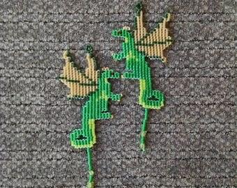Beaded Dragon Earrings, Green and Gold Fairy Dragon Earrings with Peridot Treasure, Fantasy Jewelry
