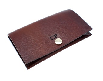 Personalised UNISEX luxury veg tan leather business card holder in 13 colours,Hand-stitched elegant leather card holder,FREE Personalisation