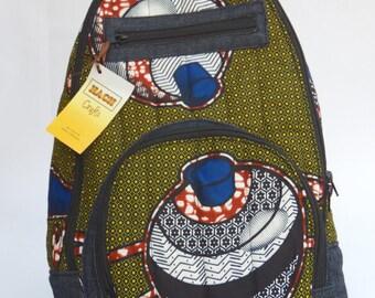 African print one sling backpack,jean backpack, ankara bag,