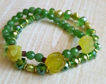 Green Agate Flower Bead Stack Bracelet