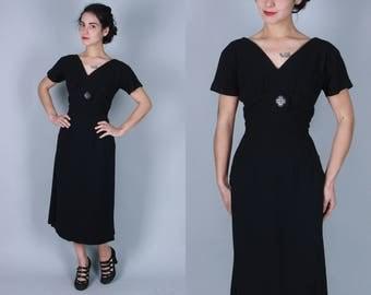 Vintage 1940s Dress | 40s 50s Black Crepe Dress with Unique Buttons & Back Drape | Medium
